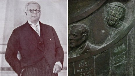 A picture of President Machado (left) and a detail from the Capitolio's scratched out relief of his face
