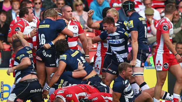 Sale celebrate victory at Gloucester