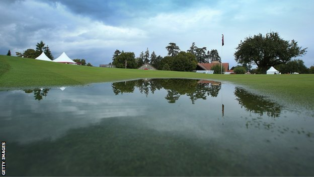 The Evian-les-Bains course is waterlogged