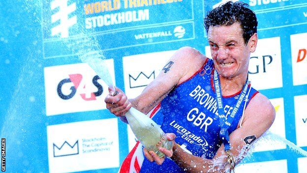 Jonny Brownlee celebrates