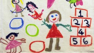 A child's drawing in crayon