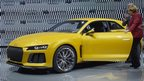 Audi Sport Quattro concept car is shown to German Chancellor Angela Merkel