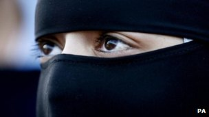 A Muslim woman wearing a niqab in Blackburn, England
