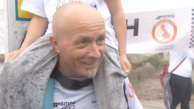 """Tony the Fridge"" at the finishing line in Cornwall"