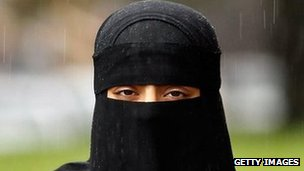 Woman wearing a niqab veil