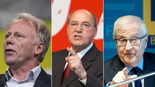 German politicians - Juergen Trittin (Greens), Gregor Gysi (Die Linke), Rainer Bruederle (FDP)