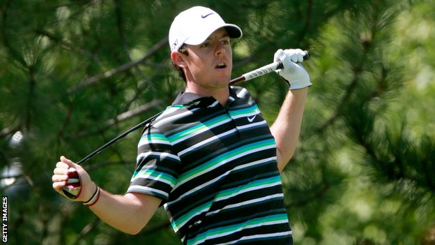 Rory McIlroy after another errant drive on the 15th on Thursday