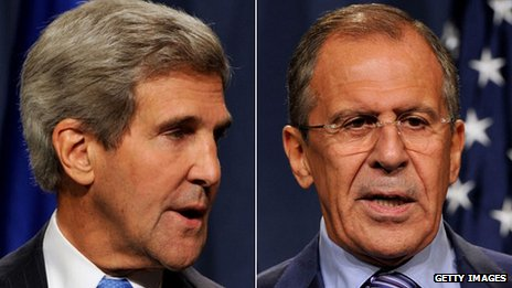 John Kerry, left and Sergei Lavrov are trying to hammer out a deal