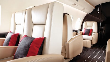 Interior of a VistaJet plane
