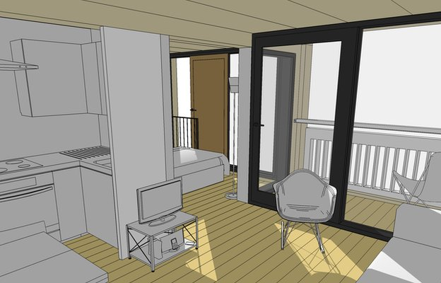 Graphic design of a room in one of the new flats