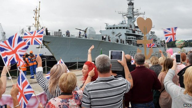 HMS Argyll returns to Devonport Naval Base