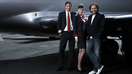 Thomas Flohr with two members of VistaJet crew