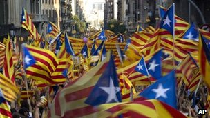 Demonstration in support of Catalan independence in Barcelona on 11 September 2012