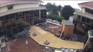 Rooftop garden being built