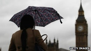 woman walking with an umbrella near Westminster