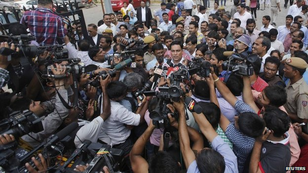 Defence lawyer A.P. Singh speaks with the media in New Delhi