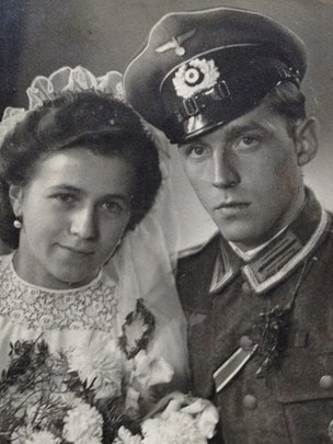 Arno Sonntag in his German soldier's uniform with his late wife Elfrieda, on their wedding day