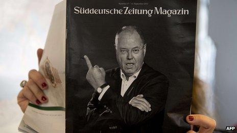 SPD leader Peer Steinbrueck giving finger gesture on cover of Sueddeutsche Zeitung, 13 Sep 13