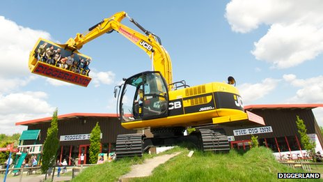Picture of a crane carrying people in Diggerland