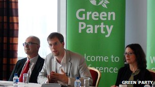 Green councillors from Brighton talking to journalists at the conference