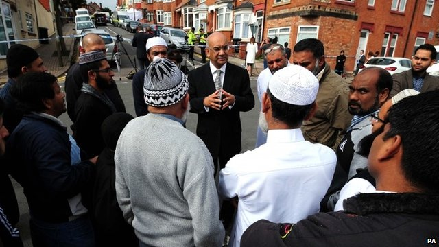 Labour MP Keith Vaz, who represents Leicester East, meeting community members in Wood Hill