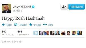 Tweet from Mohammad Javad Zarif wishing Jews a Happy Rosh Hashanah