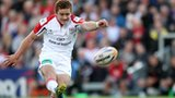 Paddy Jackson kicks a first-half penalty against Glasgow