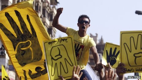 A member of the Muslim Brotherhood protests on Friday in Cairo