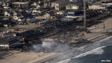 An aerial photograph of the fire damage at Seaside Park, New Jersey on 13 September 2013