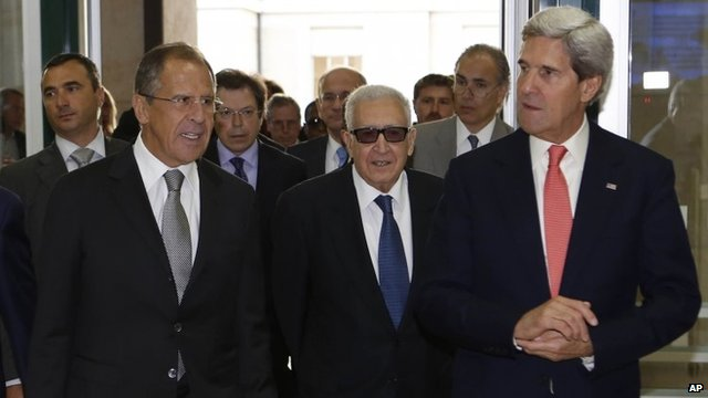 Sergei Lavrov, Lakhdar Brahimi and John Kerry on Friday 13 September