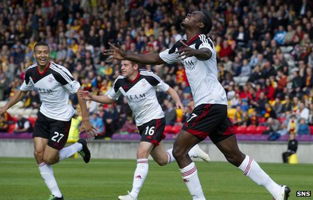 Aberdeen's Calvin Zola was on target for the Dons at Firhill