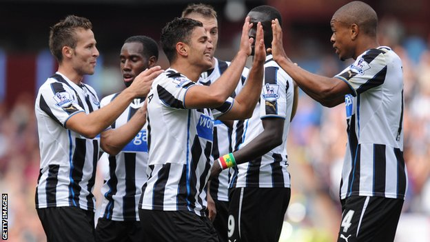 Hatem Ben Arfa celebrates opening the scoring at Villa Park