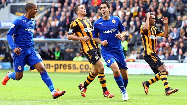 Cardiff midfielder Peter Whittingham (second right) celebrates scoring against Hull