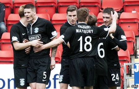 Hibs lead at McDiarmid Park