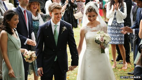 Euan Blair and Suzanne Ashman leave All Saints Church in Wotton Underwood, Buckinghamshire after their wedding