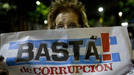 """Enough corruption,"" reads a protester banner in Buenos Aires"