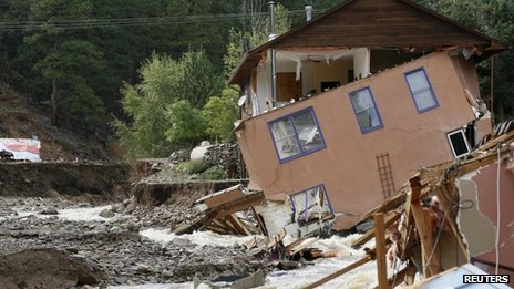 A destroyed house in Jamestown, Colorado