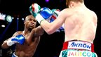 Floyd Mayweather connects against Saul Alvarez