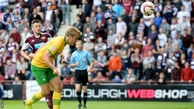 Teemu Pukki scors for Celtic against Hearts