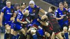 Netani Talei fends off Harry Leonard as Newport Gwent Dragons take on Edinburgh at Murrayfield