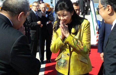 Yingluck Shinawatra on arrival in Milan. [Photo: Yingluck Shinawatra's Facebook page]
