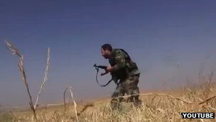 A still from footage purporting to show Iranian fighters in Iran
