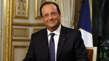 French President Francois Hollande takes part in a televised interview in Paris on Sunday 15 September 2013