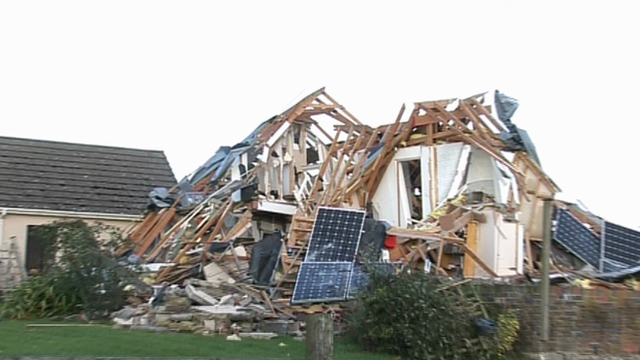 Exploded house in Ceredigion