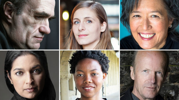 On the shortlist: (clockwise from top left):  Colm Toibin, Eleanor Catton, Ruth Ozeki, Jim Crace, NoViolet Bulawayo, Jhumpa Lahiri