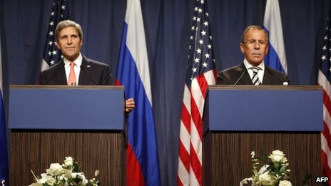 "US Secretary of State John Kerry (L) holds a joint press conference with Russian Foreign Minister Sergei Lavrov in Geneva on September 14, 2013 after they met for talks on Syria""s chemical weapons."
