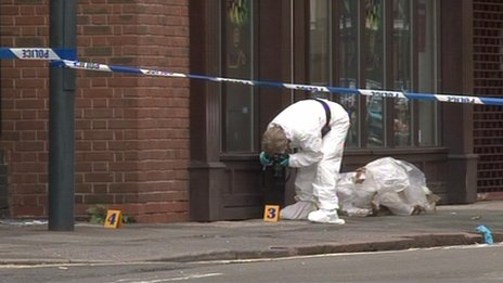 Cordoned scene in Curzon Street, Derby