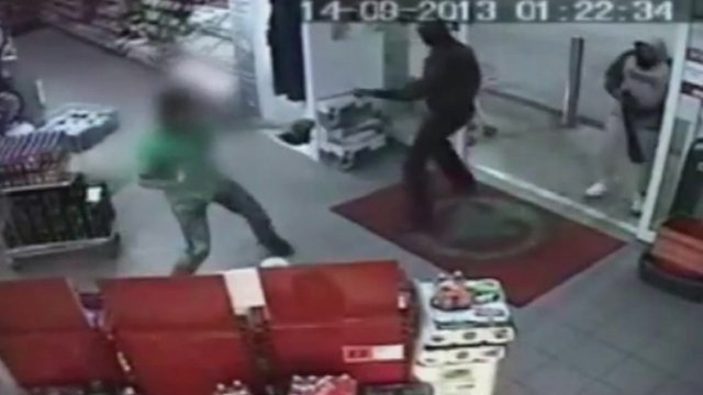 Shop assistant fights off knife wielding robber with shoe