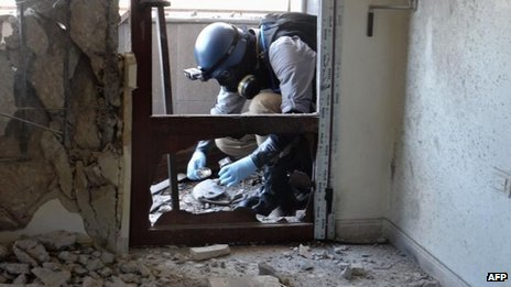 Weapons inspector in Damascus, 9 Aug