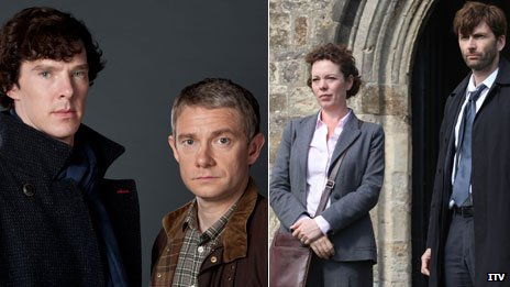 Sherlock (left) and Broadchurch